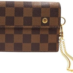 Louis Vuitton Damier Flap Wallet with Chain